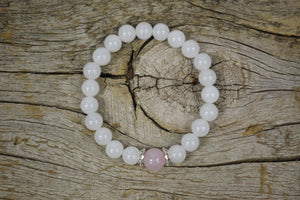White Jade and Rose Quartz  Love ,Calming and Fertility Bracelet