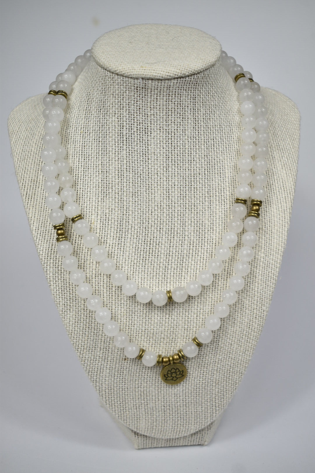 Natural White jade Mala Necklace 108 Beads