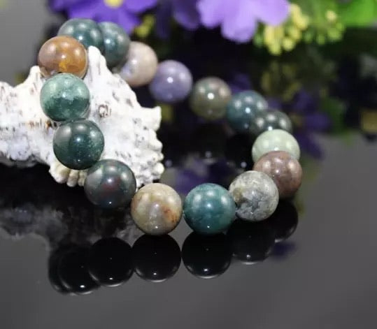 Unisex 10mm Indian Agate Bracelet