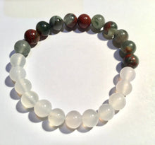 Load image into Gallery viewer, White Chalcedony and African Bloodstone Bracelet, harmony, courage and Purification