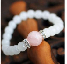 Load image into Gallery viewer, White Jade and Rose Quartz  Love ,Calming and Fertility Bracelet