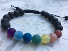 Load image into Gallery viewer, 7 CHAKRA AGATE ADJUSTABLE DIFFUSER BRACELET
