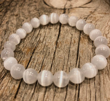 Load image into Gallery viewer, Natural WHITE SELENITE Single Stone Bracelet - grade A, 8mm Smooth Round Bead