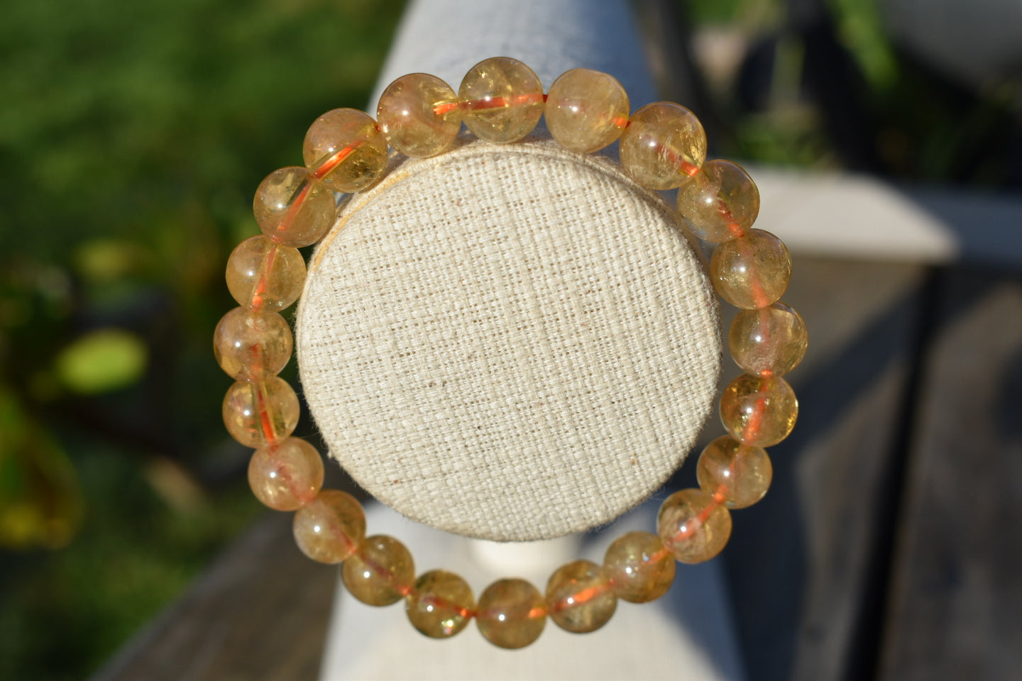 Natural AA Citrine Gemstone 8mm Round Beads Stretch Bracelet