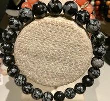 Load image into Gallery viewer, SNOW FLAKE OBSIDIAN BEADED BRACELET 8mm