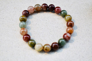 8mm natural rutilated quartz multi colour beads stretchable bracelet