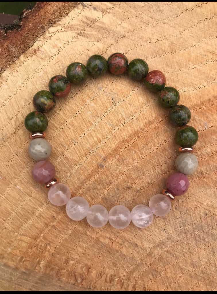 Rose Quartz Unakite Rhodonite Bracelet l Love l Mothering l Pregnancy l Spiritual l Fertility.