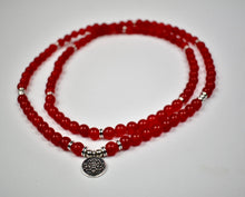 Load image into Gallery viewer, Beautiful Glowing Red Agate Mala Necklace