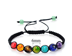 Seven Chakra Bracelet, Yoga Jewellery, Chakra  Prayer Beads, Spiritual Protection Gift, Healing Stones, Unique Gift for Her, Lava Stone