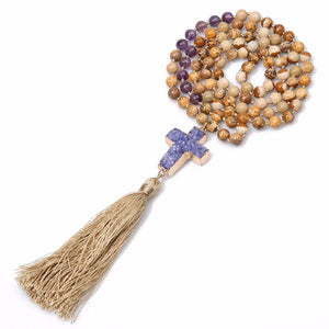 Hand Knotted Semi-Precious Tassel Necklace Picture jasper Stone , Amethyst and Raw AmethystCross