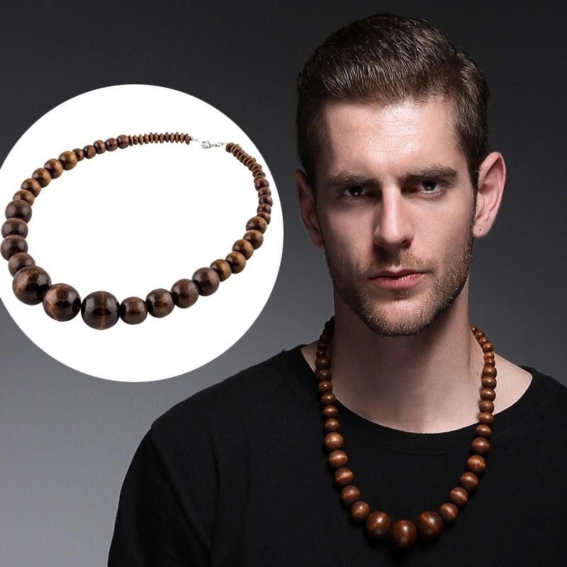 Brown Wood Beads Necklace for men