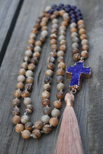 Load image into Gallery viewer, Hand Knotted Semi-Precious Tassel Necklace Picture jasper Stone , Amethyst and Raw AmethystCross
