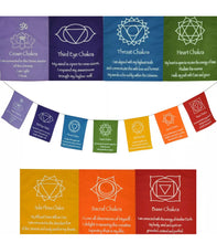 Load image into Gallery viewer, Large Seven Chakra Prayer Flags Banner Wall Hanging