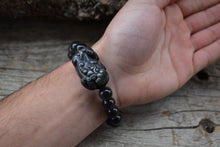 Load image into Gallery viewer, Natural Obsidian Wealth & Protection Pixiu Bracelet