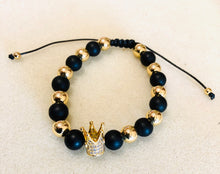 Load image into Gallery viewer, Royal Designs Gold Plated Black onyx and Hold Hematite Stones  Crown Bracelets