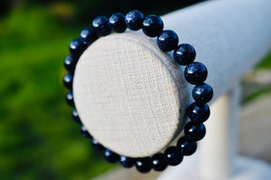 Blue Sandstone or Goldstone 6mm Unisex Bracelet