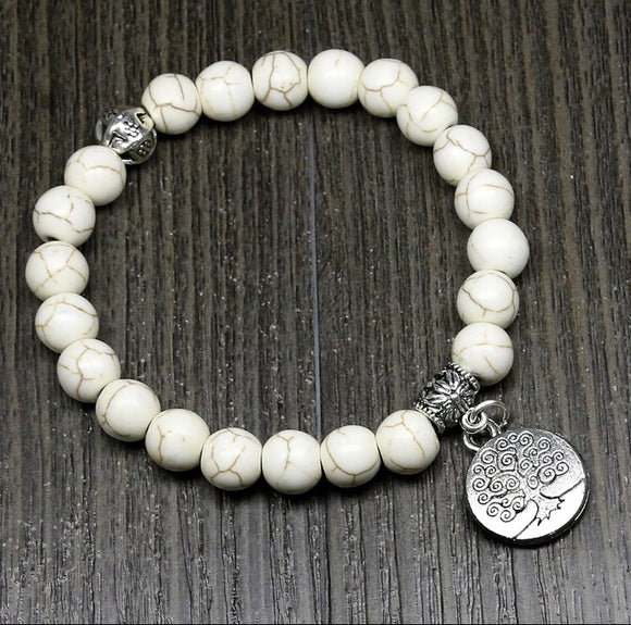 White Turquoise beaded Bracelet, Tree Life charm