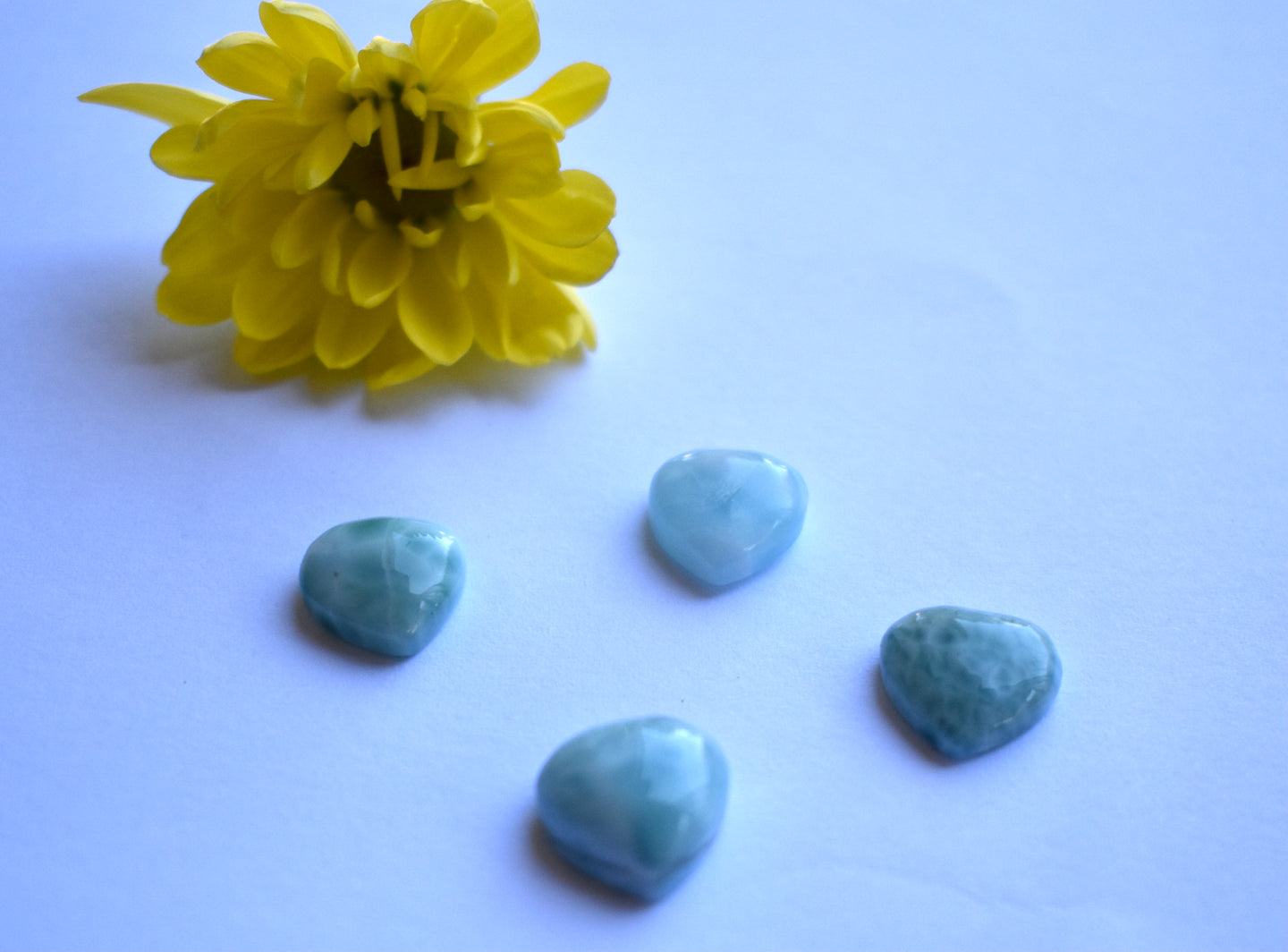 Natural Larimar Heart Shape Smooth Cabochon