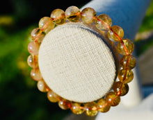 Load image into Gallery viewer, Natural AA Citrine Gemstone 8mm Round Beads Stretch Bracelet