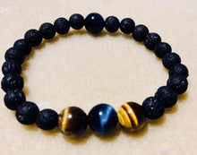 Load image into Gallery viewer, Child lava stone, Blue and Brown Tiger Eye Kids  Bracelet
