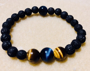 Child lava stone, Blue and Brown Tiger Eye Kids  Bracelet