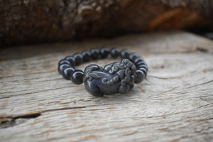 Natural Obsidian Wealth & Protection Pixiu Bracelet