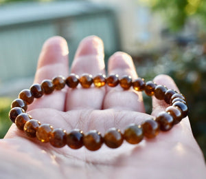 Natural Yellow Tourmaline Quartz Crystal Stretch Round Beads Bracelet 6mm