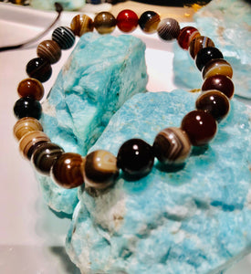 Natural Botswana 8mm Unisex Bracelet