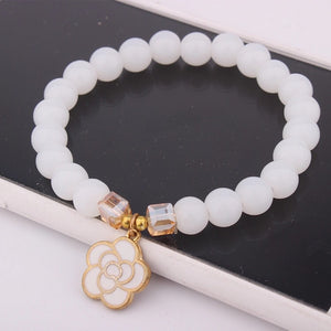 White Jade And Flower Bracelet ,Pure Love💕