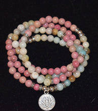 Load image into Gallery viewer, 108 Mala 2 Gemstone  Bracelet or Necklace, mala beads 108 , Amazonite And Rhodochrosite