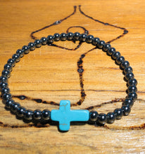 Load image into Gallery viewer, HEMATITE TURQUOISE STONE CROSS BRACELET