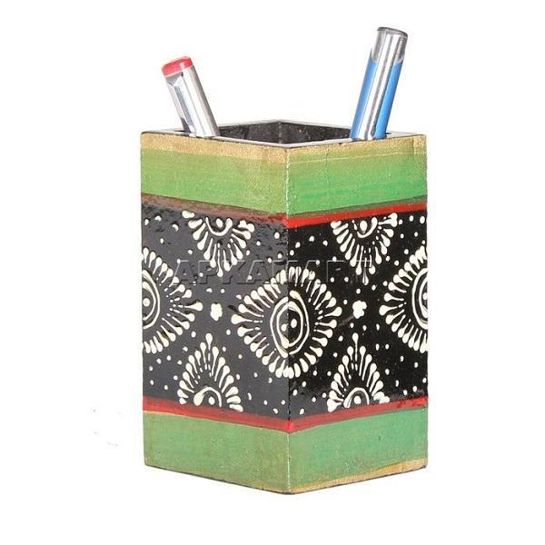 APAKAMART Black & Green Pencil Holder 4 Inch