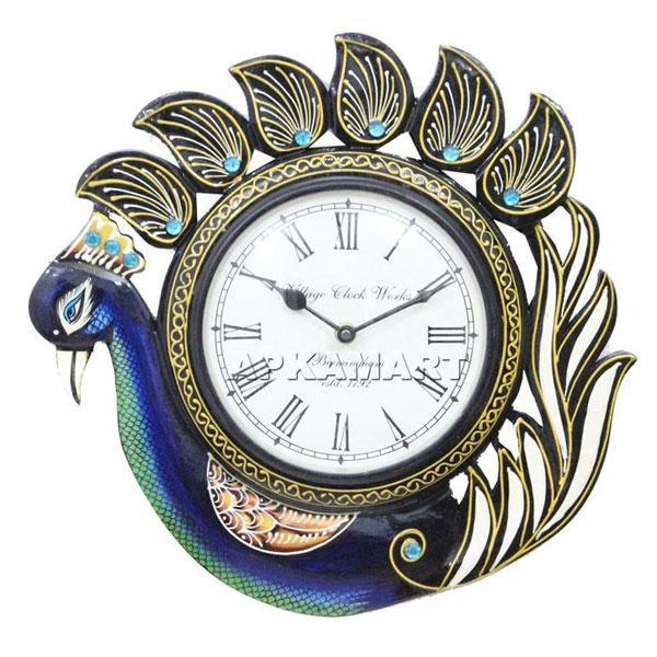 APAKAMART Peacock Wall Clock 12 Inch