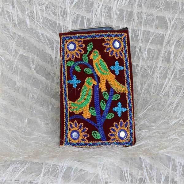Bird Embrodiery Mobile Pouch - ApkaMart