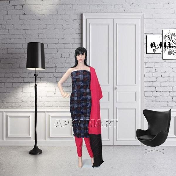 Black and Red Tie and Dye Dress Material - ApkaMart