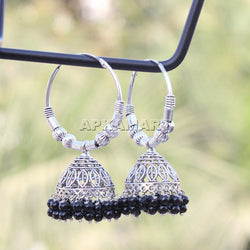 APKAMART Black Bead Chandbali Earrings