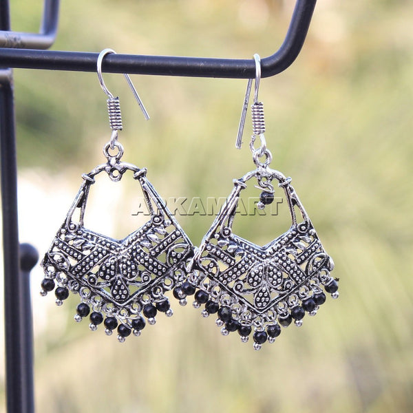 APKAMART Black Bead Drop Earrings