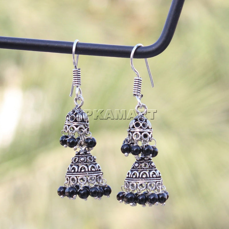 APKAMART Black Bead Oxidised Earrings