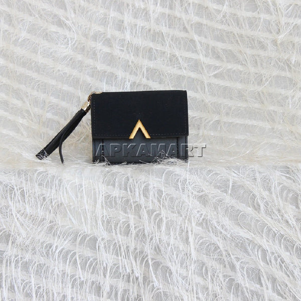 APKAMART Black Causal Folded Wallet
