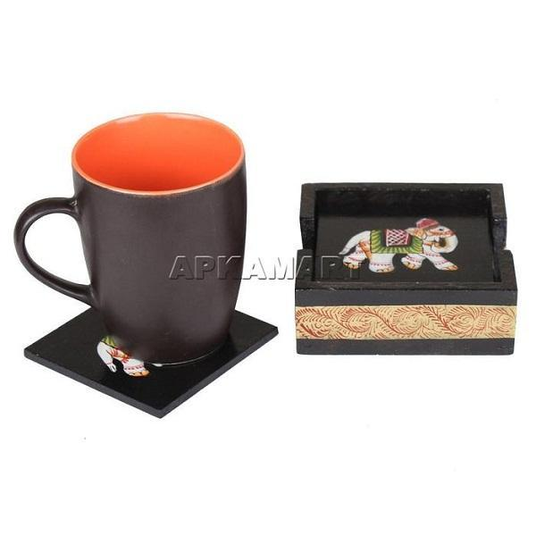 APKAMART Black Tea Coaster 4 Inch