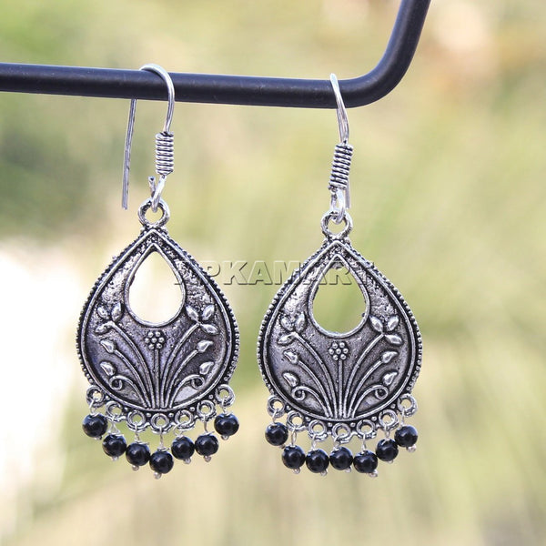 APKAMART Black Tribal Dangler Earrings