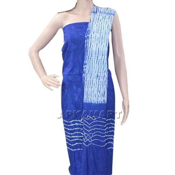 APKAMART Blue and White Tie and Dye Dress Material