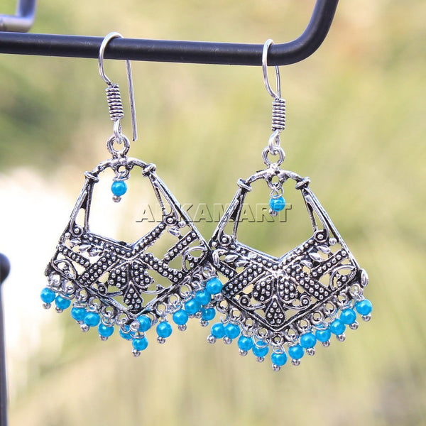 APKAMART Blue Bead Drop Earrings