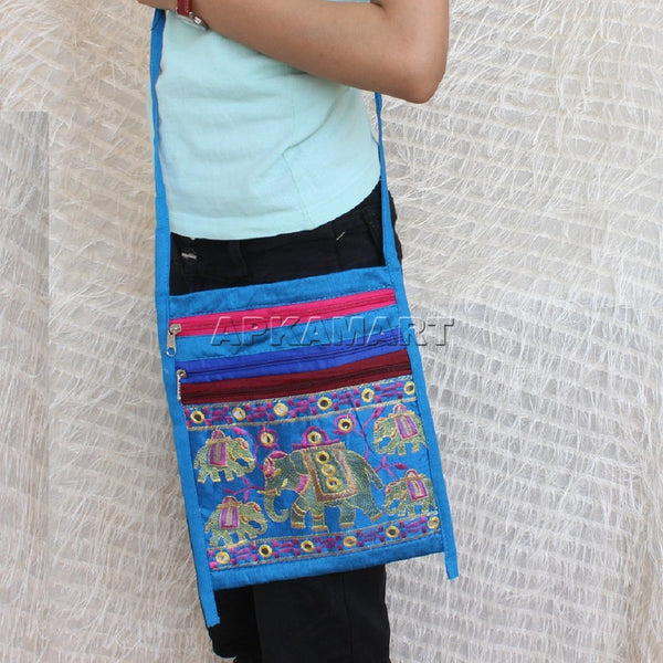 APKAMART Blue Elephant Design Sling Bag