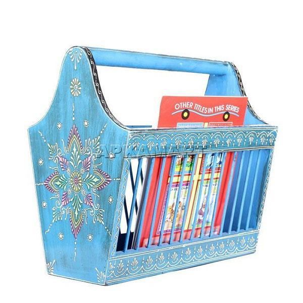 APKAMART Blue Jali Magazine Holder 14 Inch