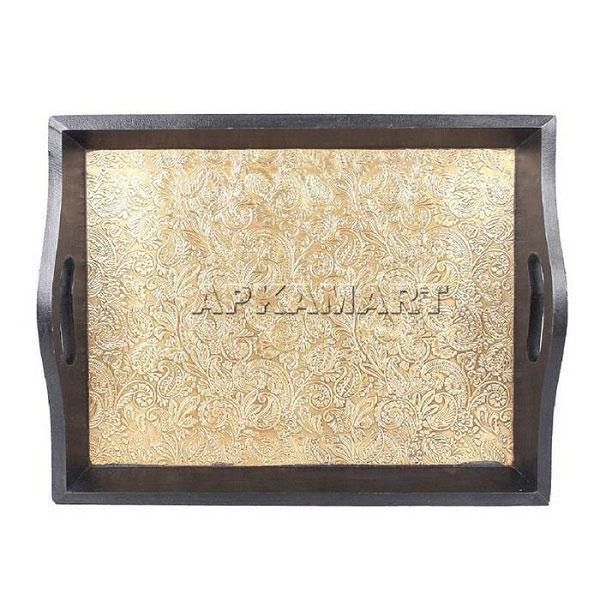 APKAMART Brass Serving Tray 16 Inch