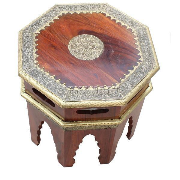APKAMART Brown Side Table 19 Inch