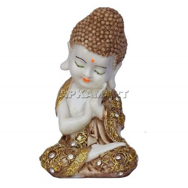 APKAMART Brown Sleeping Buddha 8 Inch
