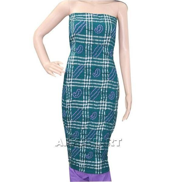 Dark Green and Purple Tie and Dye Dress Material - ApkaMart