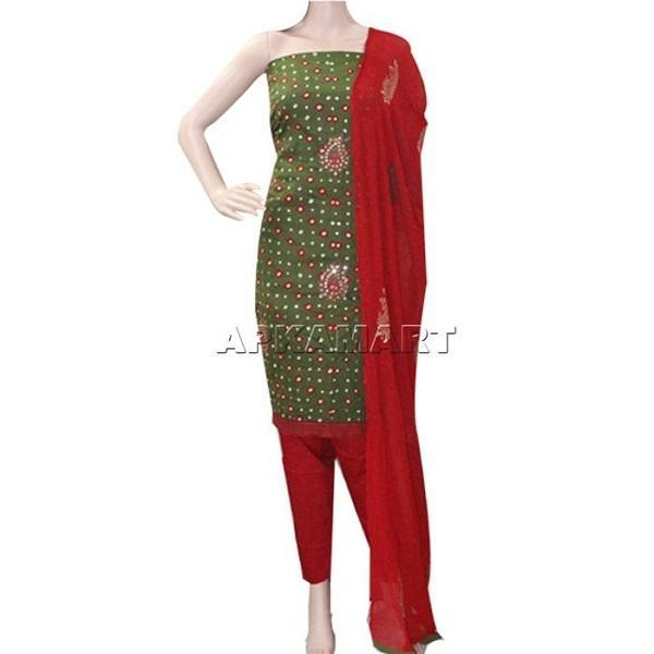 APKAMART Dark Green and Red Tie and Dye Dress Material